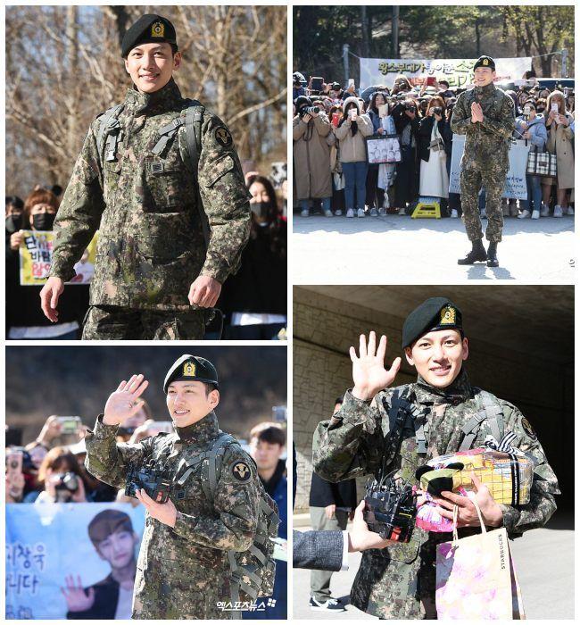 Ji Chang Wook  saludando a sus fans y hablando con la prensa.