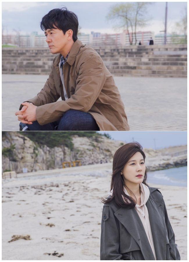 "Los protagonistas de "" The Wind Blows "", Kam Woo Sung & Kim Ha Neul."